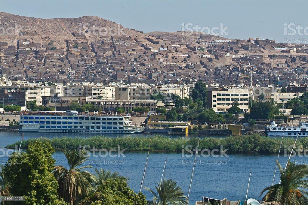 Egypt -Assouan-Boat Felucca Nile stock photo