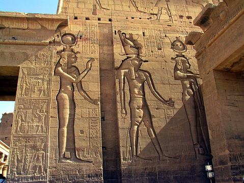 Egypt Aswan. Hathor and Horus at  Isis Temple on the Island of Philae.