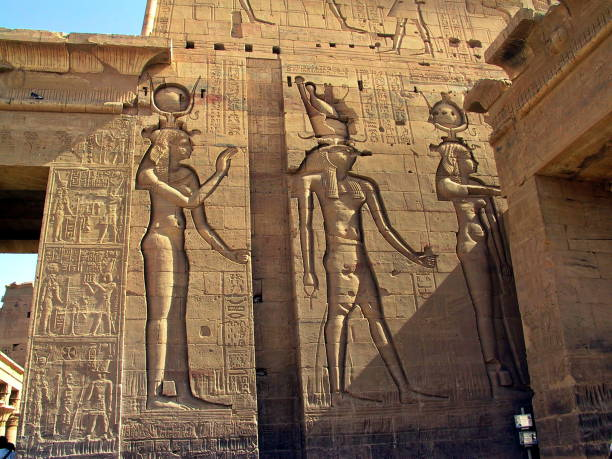 Egypt Aswan. Hathor and Horus at  Isis Temple on the Island of Philae. stock photo
