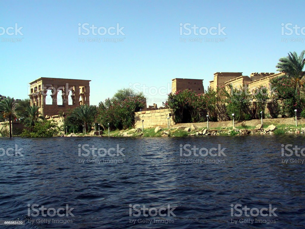 Egypt  Aswan. Isis Temple on the Island of Philae. stock photo