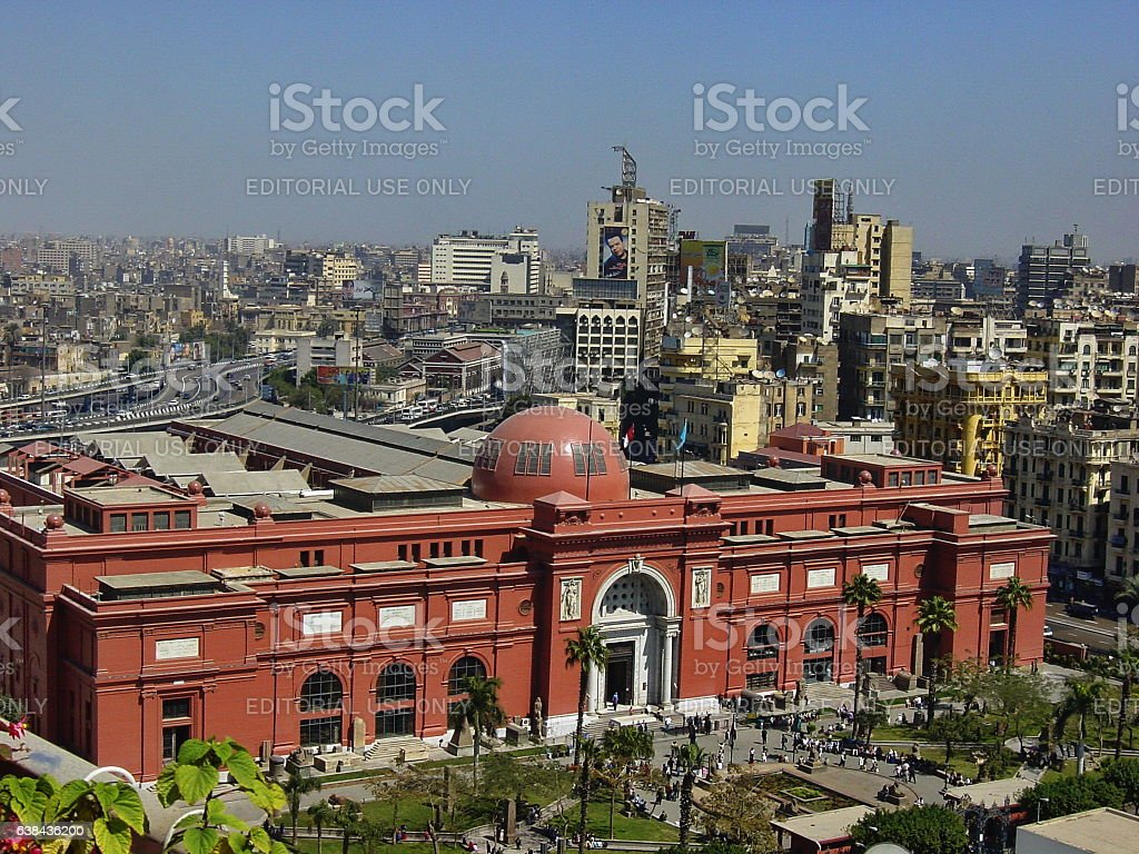 Egypt – Cairo, Egyptian Museum panoramic view at noon. stock photo