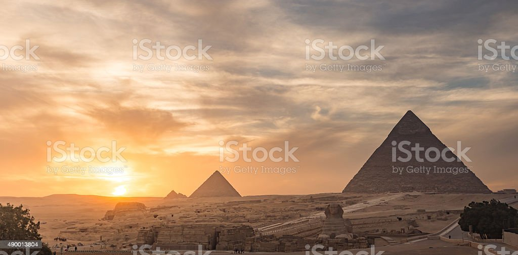 Egypt. Cairo - Giza. General view of pyramids stock photo