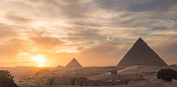 Egypt. Cairo - Giza. General view of pyramids stock photo