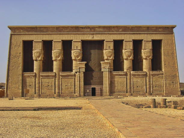 Egypt, Dendera nearby Luxor. The Temple of Hathor. stock photo