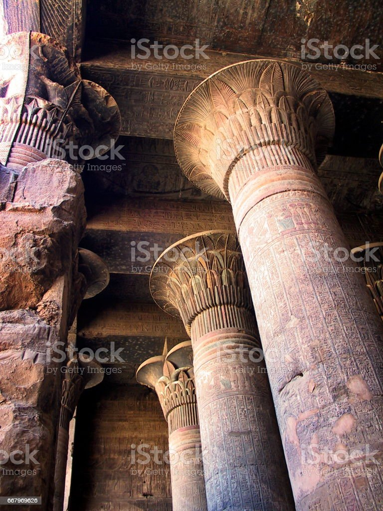 Egypt Esna. The hypostyle hall of the Ptolemaic-Roman Temple of Khnum. stock photo