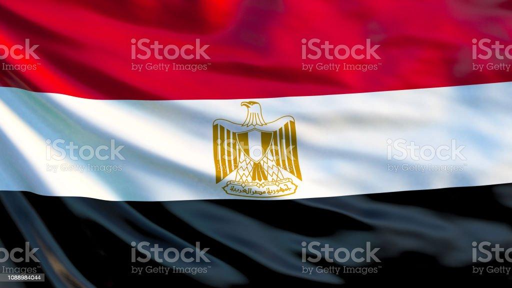 エジプトの国旗エジプトの旗を振って 3 D イラストレーションカイロ ...