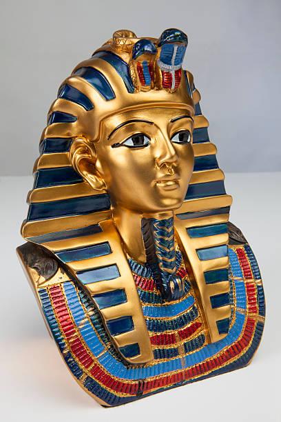 Egypt funerary mask isolated, foreshortening stock photo