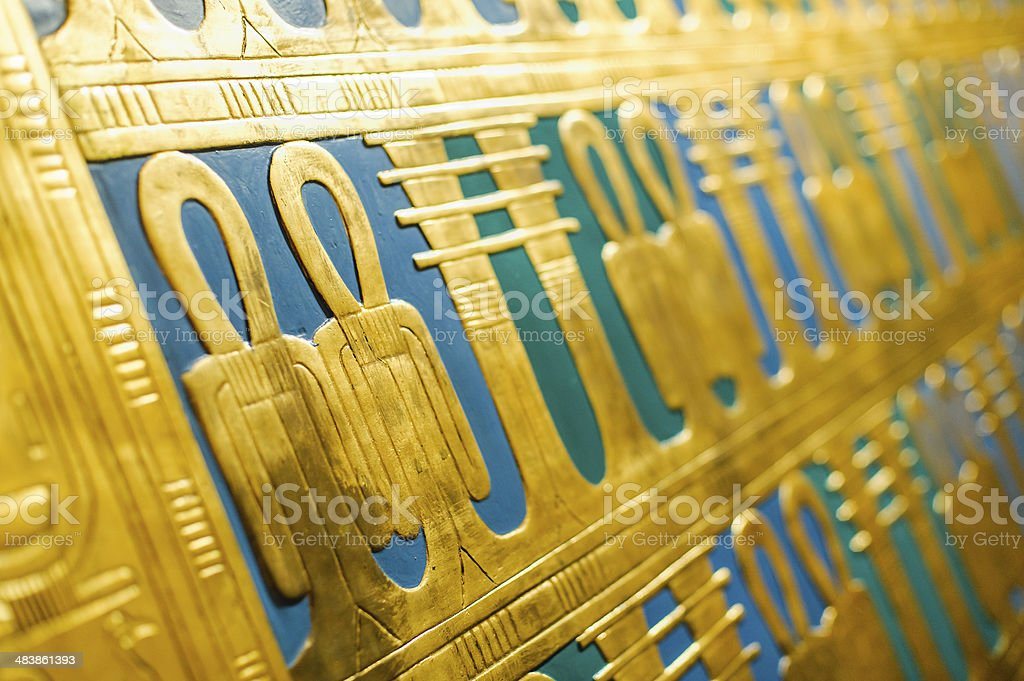egypt hieroglyphs on a sargophagus stock photo