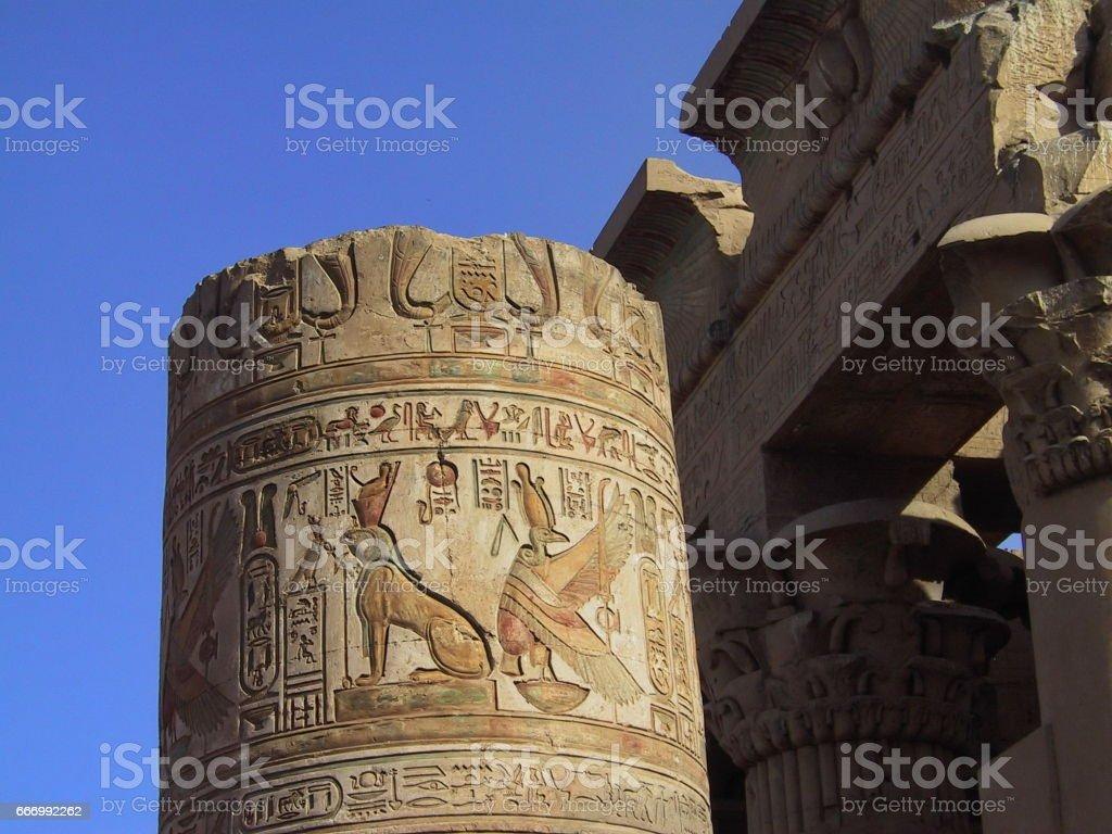 Egypt. Kom OmboTemple. Column of Goddesses Nekhbet and Wadjet. stock photo