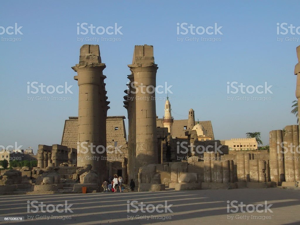 Egypt Luxor. Amenhotep's colonnade from the peristyle court stock photo