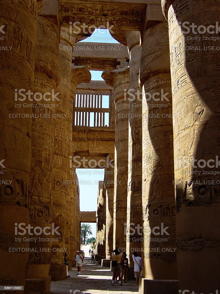 Egypt Luxor. Pillars of the Great Hypostyle Hall, Karnak Temple. stock photo