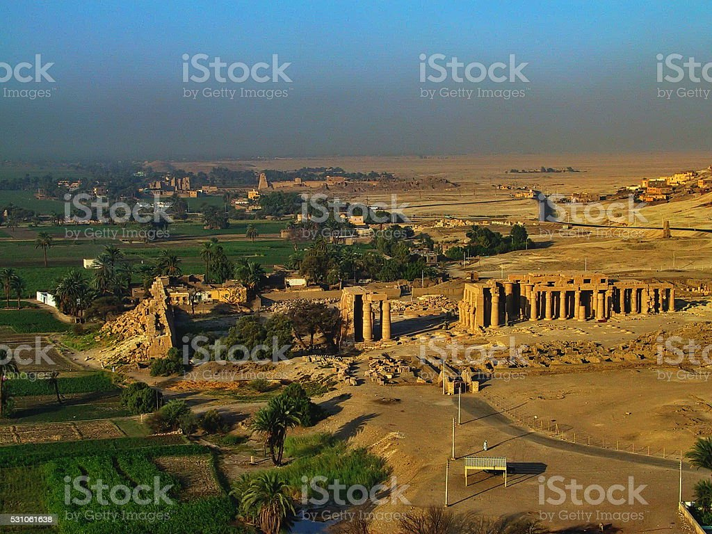 Egypt Luxor. Riding a Hot Air Balloon over the West-bank. stock photo