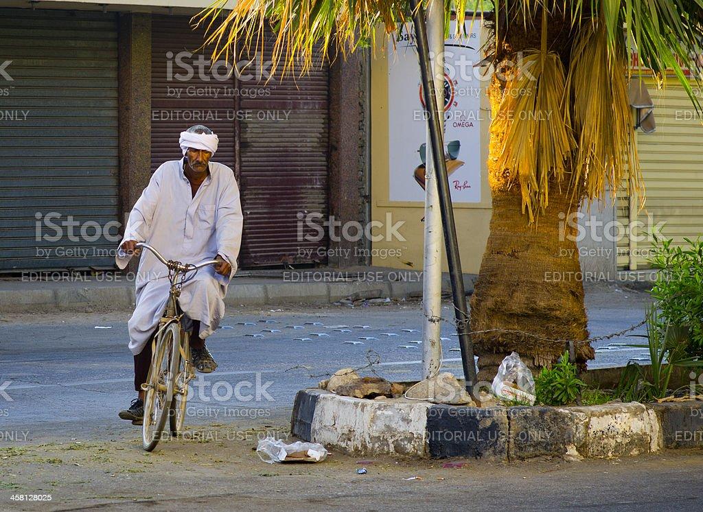 Egypt Luxor Street Bicycle Man royalty-free stock photo