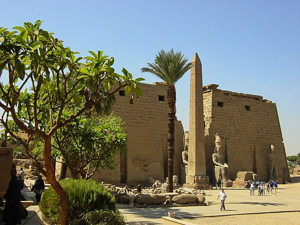 Egypt Luxor. Temple entrance Pylon with obelisk at dawn. stock photo