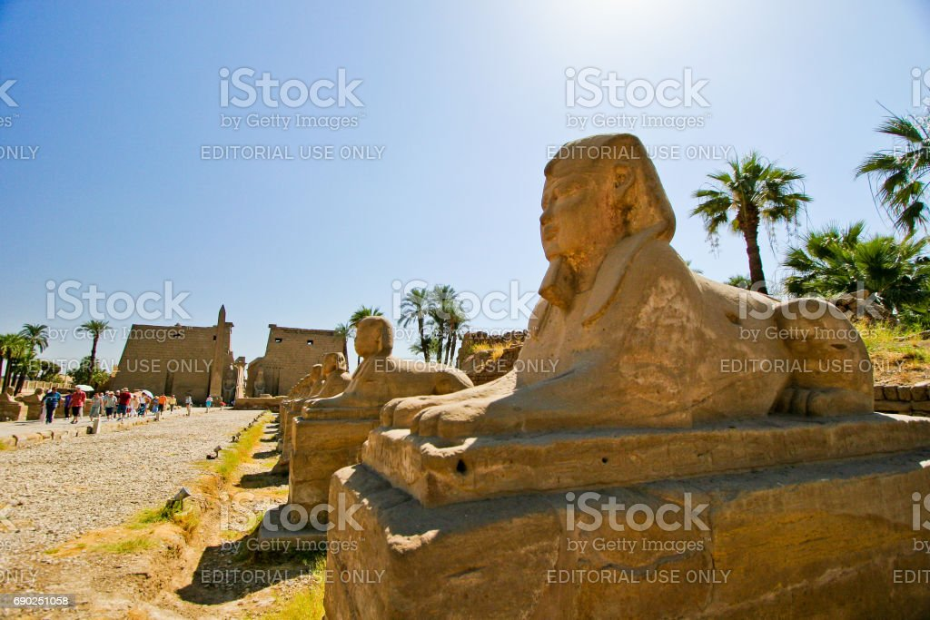 Egypt Luxor. Temple entrance Pylon with obelisk at dawn stock photo
