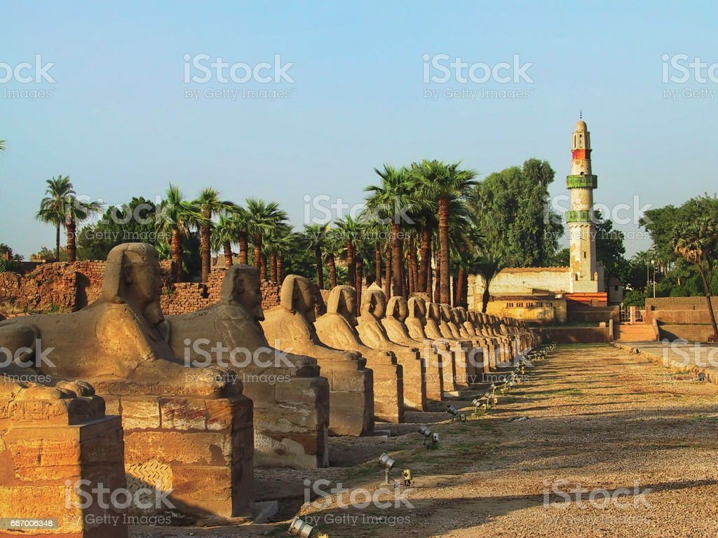 Egypt Luxor. The Avenue of Sphinxes at Luxor Temple. stock photo