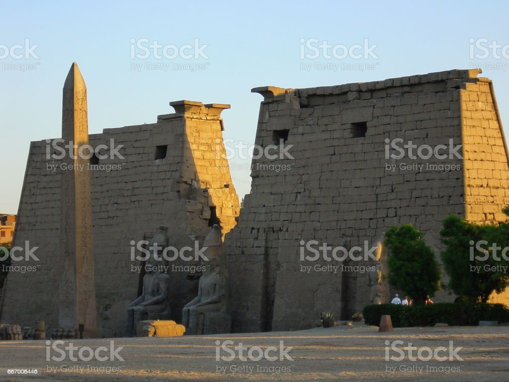 Egypt Luxor.  The first Pylon of the Luxor Temple. stock photo