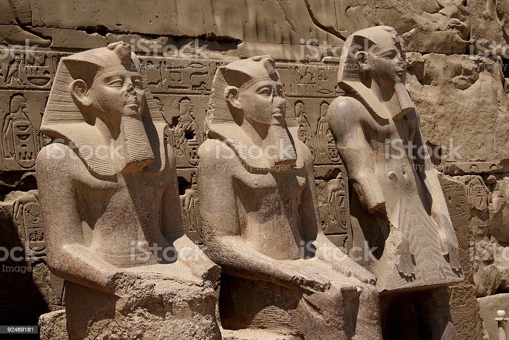 Egypt, Luxor  - Three Pharaos in Temple stock photo
