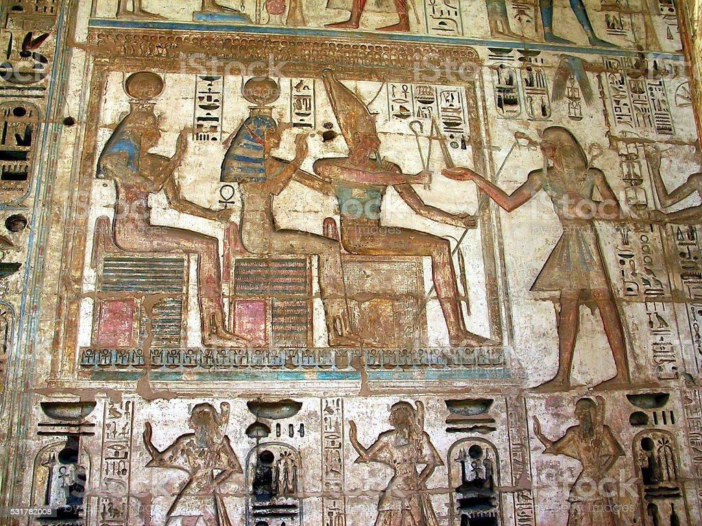 Egypt Luxor, West Bank. Ramesses  Relief at Medinet Habu Temple. Ramesses  Painted Relief, Medinet Habu, Akhenaten - Pharaoh Stock Photo