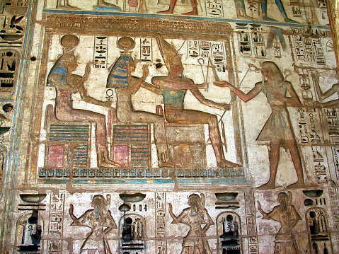 Egypt Luxor West Bank Ramesses Relief At Medinet Habu Temple Stock Photo - Download Image Now