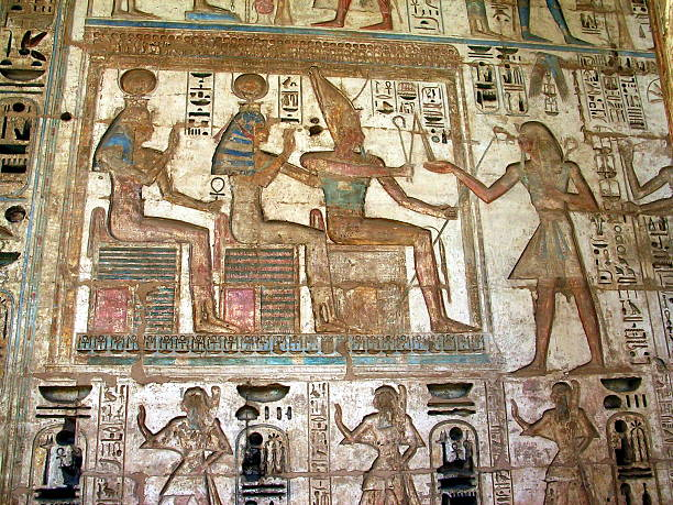 Egypt Luxor, West Bank. Ramesses  Relief at Medinet Habu Temple. Ramesses  Painted Relief, Medinet Habu, Tomb Of Ramses III stock pictures, royalty-free photos & images