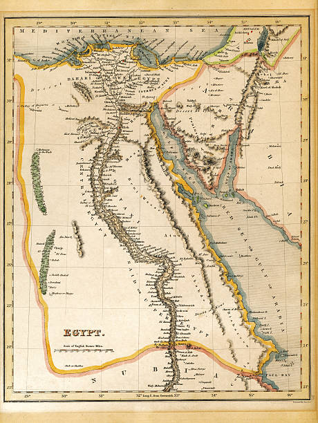 Egypt Map Printed 1845 An old 19th century map, engraved and printed in England in 1845, depicting Egypt (Jerusalem in the north down to the border with Nubia in the south. historical palestine stock pictures, royalty-free photos & images