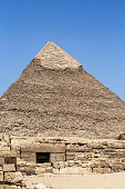 View on Egyptian pyramid and tomb