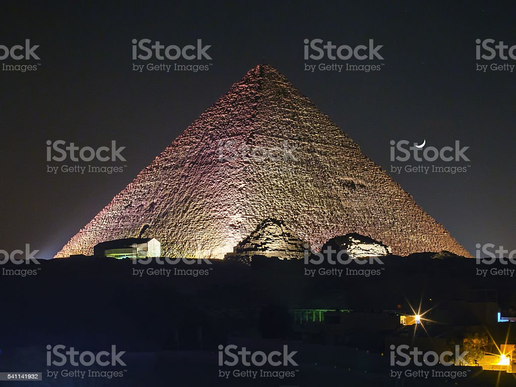 Egypt Pyramid night stock photo