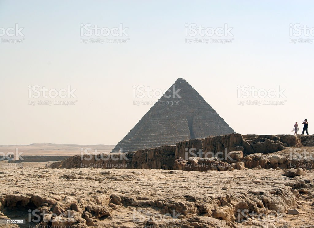 Egypt: Tourists at the Pyramids royalty-free stock photo