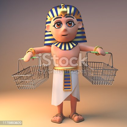 Egyptian 3d cartoon Cleopatra Tutankhamun character with empty shopping baskets, 3d illustration render