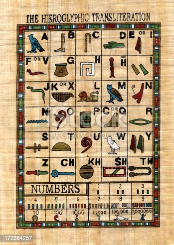 istock egyptian alphabet - hieroglyphs XXL 172384257