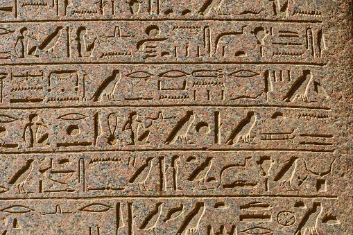 614744994 istock photo Egyptian ancient hieroglyphs on the stone wall 1152980122