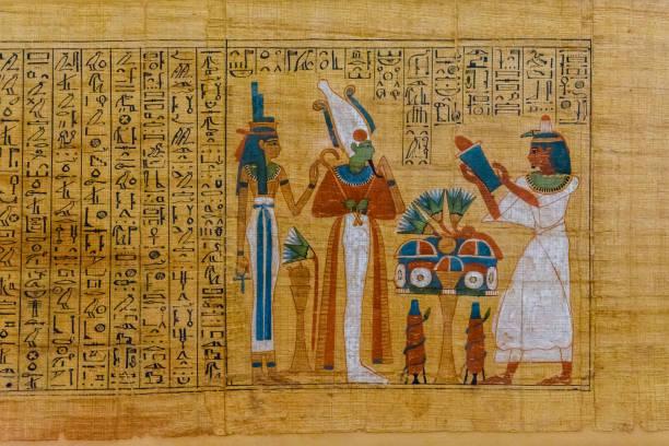 egyptisk forntida papyrus med olika bilder och hieroglyfer - egyptisk kultur bildbanksfoton och bilder