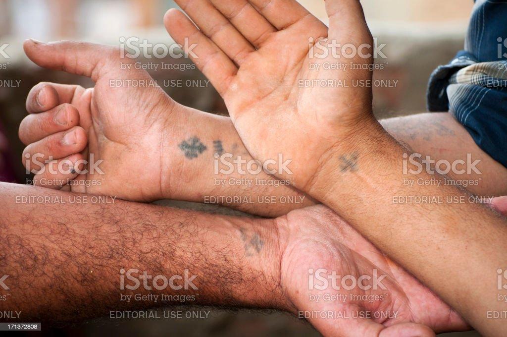 Egyptian Christians Z Krzyż Tatuaże Na Nadgarstki Zdjęcia