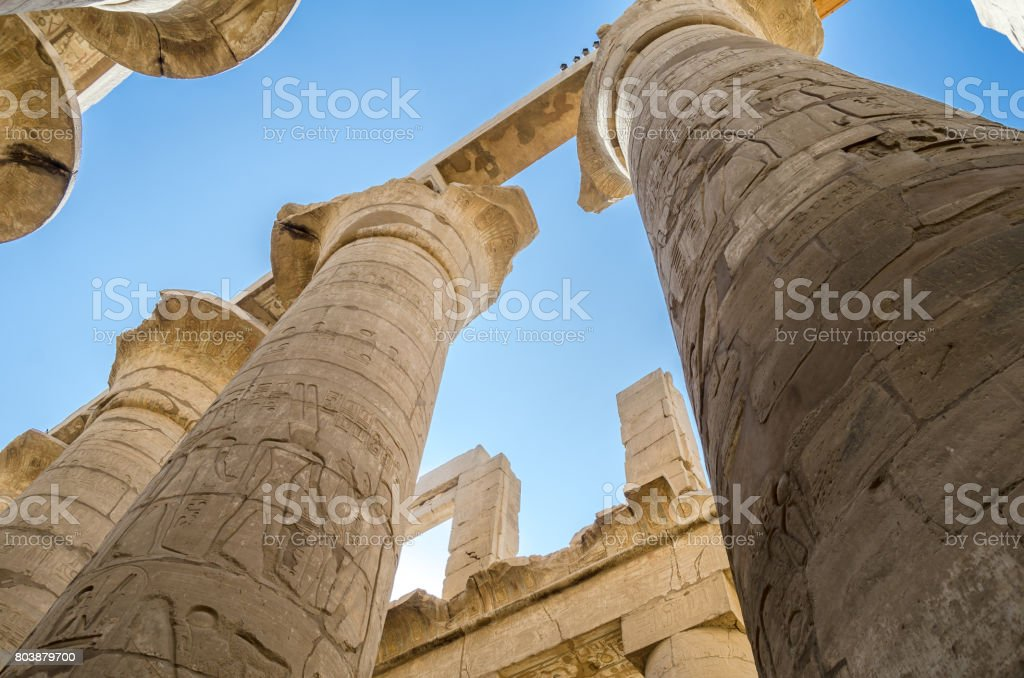 Egyptian columns. Luxor. stock photo
