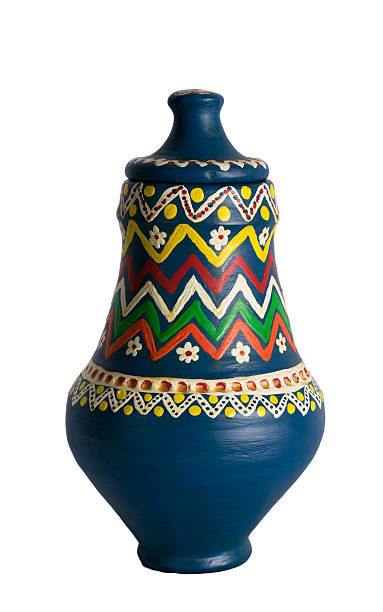 Egyptian decorated colorful pottery vessel (Kolla) stock photo