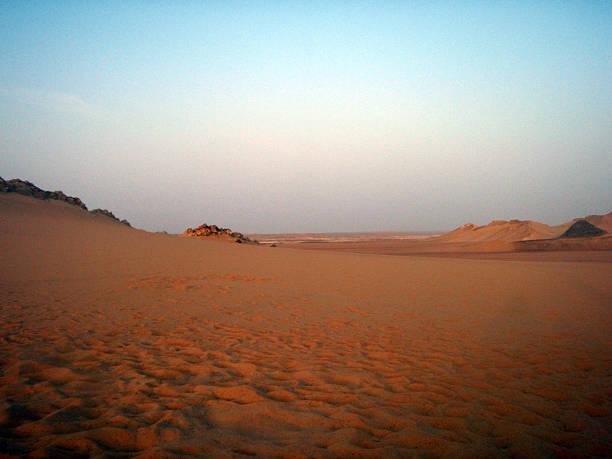 Egyptian desert at dawn stock photo