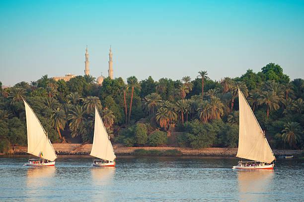 Egyptian Felucca Sailboats Sail on the Nile River Aswan Eygpt stock photo