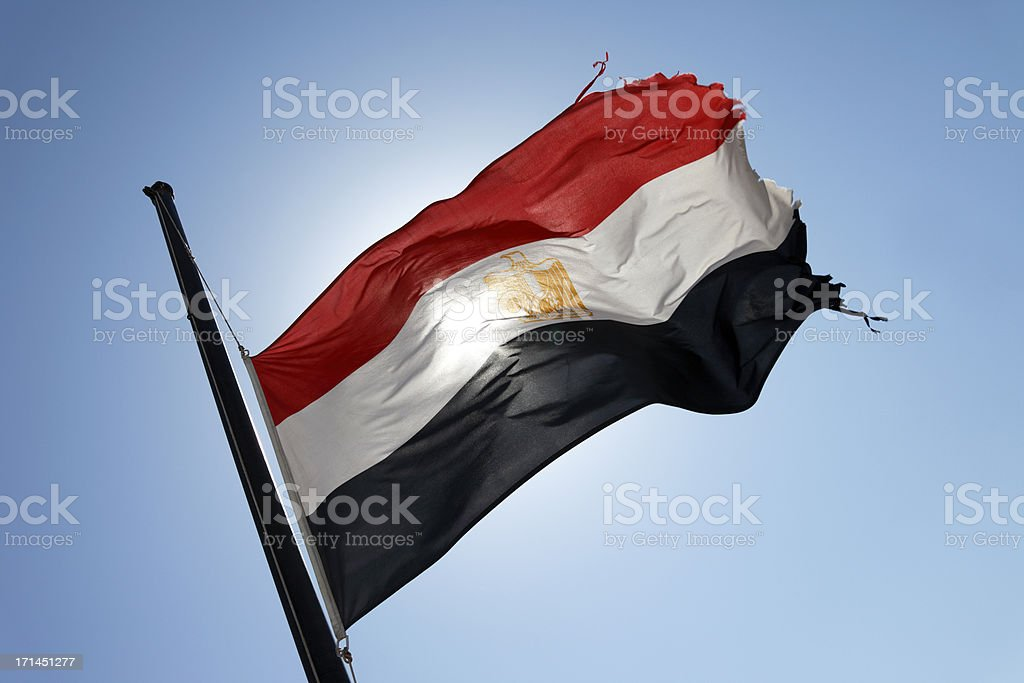 Egyptian Flag at Half-Mast royalty-free stock photo