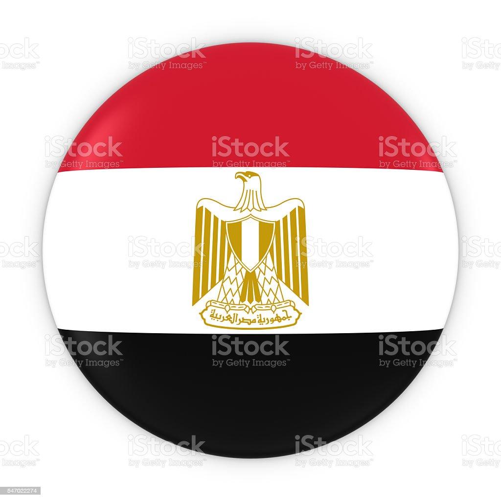 Egyptian Flag Button - Flag of Egypt Badge 3D Illustration stock photo
