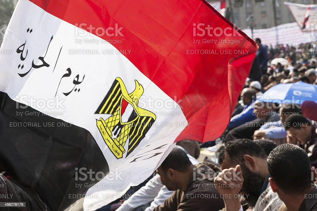 Egyptian flag on Tahrir stock photo