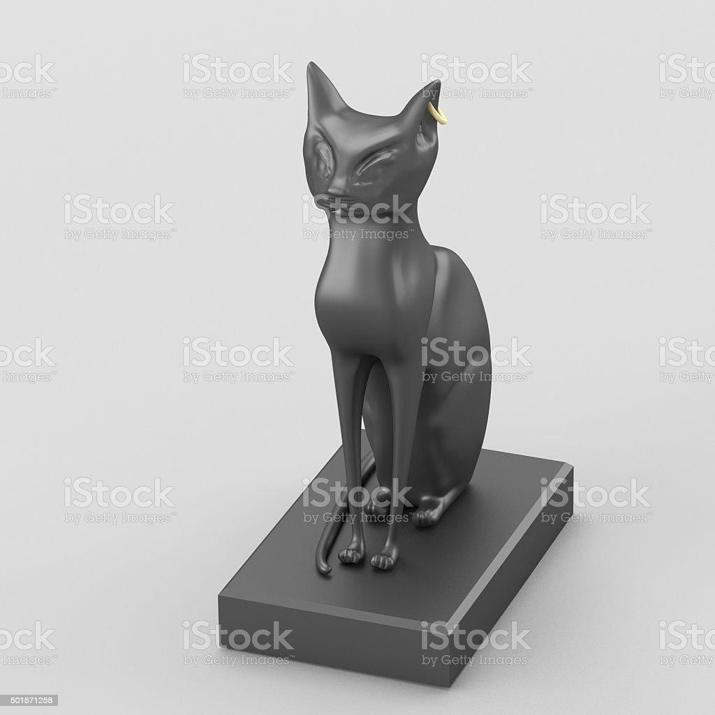Egyptian goddess Bastet black figurine stock photo