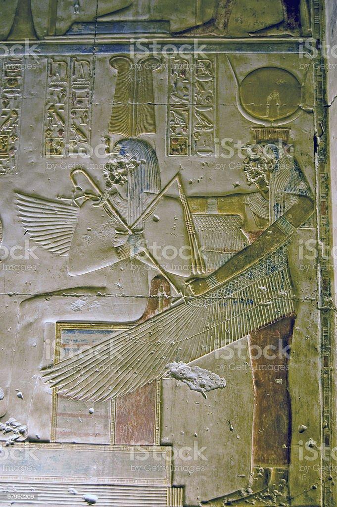 Egyptian Goddess Mut with Pharoah Seti royalty-free stock photo