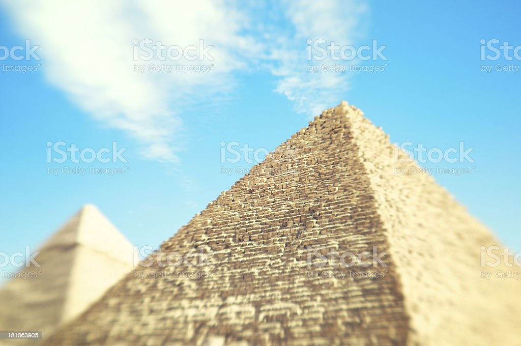 Egyptian Great Pyramids Selective Focus Bright Sky royalty-free stock photo