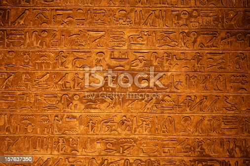 Close up of Egyptian hieroglyphics on a wall