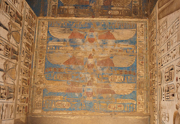 Egyptian hieroglyphics on a temple wall  Tomb Of Ramses III stock pictures, royalty-free photos & images