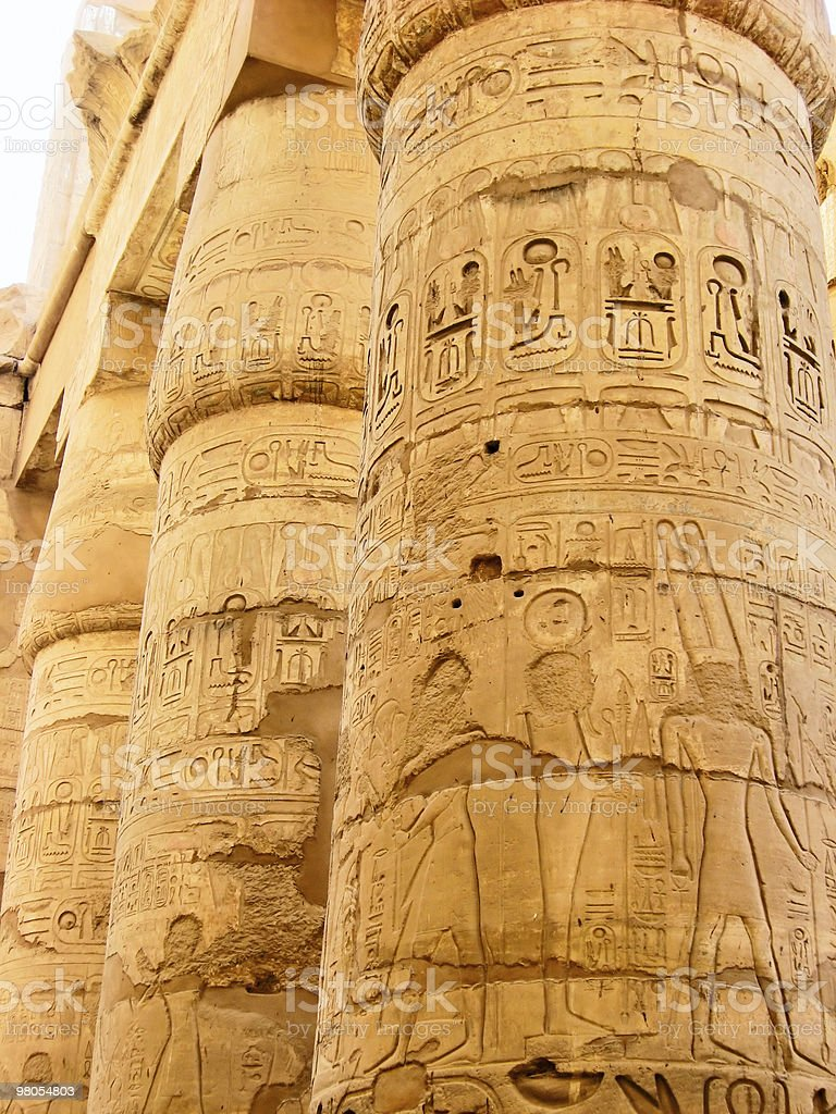 Egyptian hieroglyphics on the stone column royalty-free stock photo