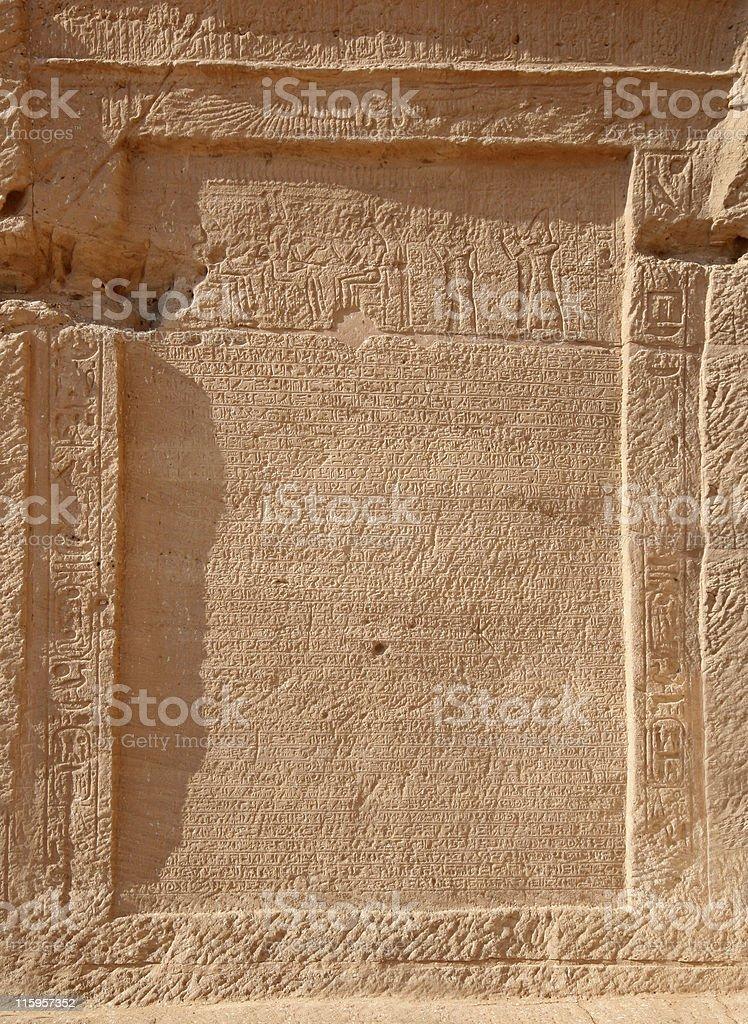 Egyptian Hieroglyphs: Abu Simbel royalty-free stock photo