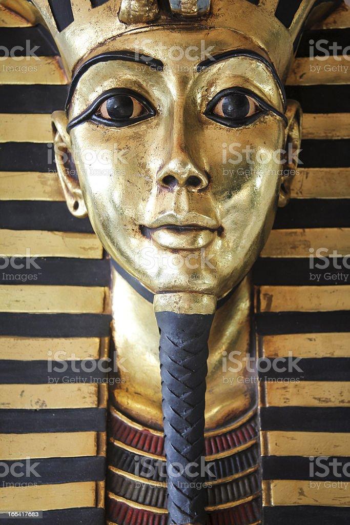 Egyptian king tut golden death mask stock photo