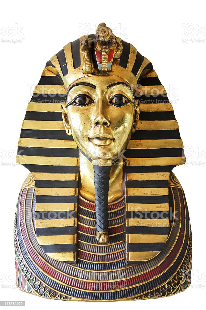 egyptian king tut golden death mask stock photo